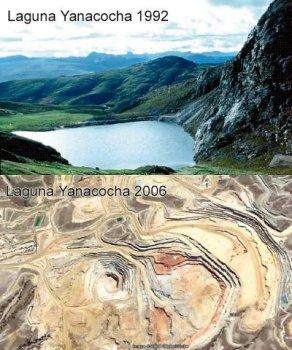 El impacto de las Minas de Oro de Yanacocha desde 1996 al 2006. Es un delito contra el progreso económico (de unos pocos) oponerse a esto para el gobierno ! LA DESTRUCCIÓN ES IRREVERSIBLE!