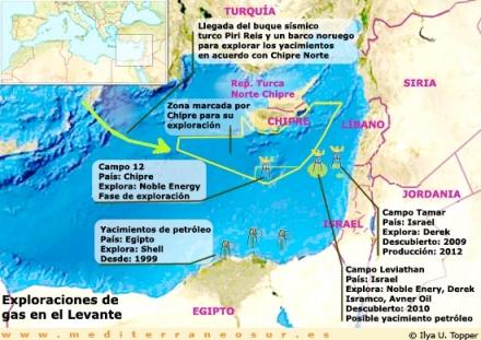 semana pasada el gobierno chipriota ha alcanzado un acuerdo con dos compañías energéticas israelíes sobre la explotación del 30% de los recursos energéticos que se hallan en los alrededores de la Plataforma 12