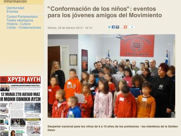 """Pág web donde neonazis explican """"su nuevo espíritu"""". Foto con traductor para que sea legible."""