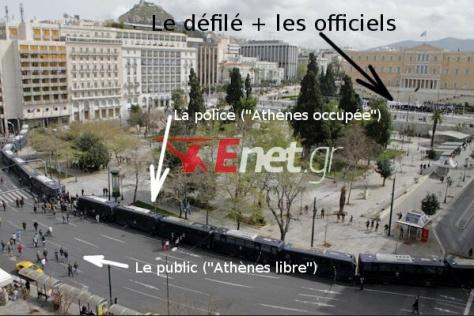 Plaza sintagma. Atenas. Okeanews explica el cordón policial para hacer privado el desfile