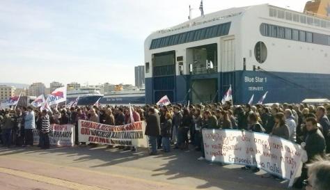 Marineros en la pasada huelga. Foto 902.gr
