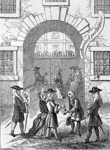 """""""Orad y acordaos de los pobres deudores""""  Prisión Fleet en Londres.  Prisión de deudores  en uso hasta 1844."""